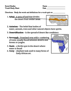 Africa Vocabulary Quizzes
