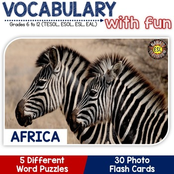 Africa - Continent Symbols: 5 Different Word puzzles and 30 Photo Flash Cards