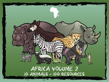 Africa Volume 2 -- 10 Wild Animals -- 100 K-2 Resources