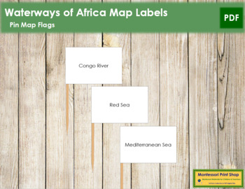 Africa Waterways Map Labels - Pin Map Flags