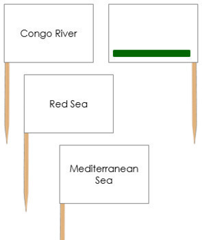 African Waterways Map Labels - Pin Map Flags (color-coded)