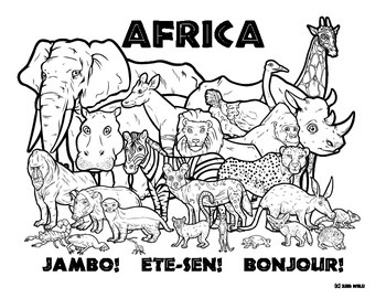 Africa -- Wildlife Coloring Page