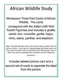 Africa Wildlife Montessori 3-part cards