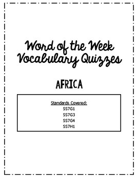 Africa Word of the Week Vocabulary Quizzes Bundle with Key