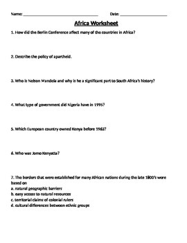 Global 2: Africa Worksheet