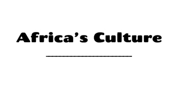 Africa's Culture Booklet