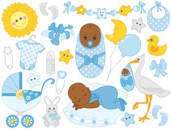 African American Baby Boy Clipart - Digital Vector Baby Bo