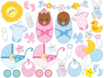 African American Baby Clipart - Digital Vector Baby Boy, Girl, Newborn Clip Art