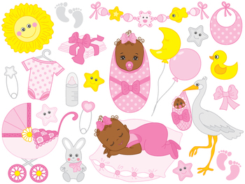 African American Baby Girl Clipart Digital Vector Baby Girl Newborn Clip Art