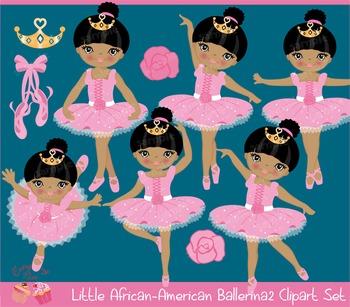 African-American Ballerina 2 Clipart Set