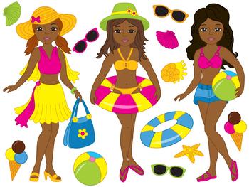 African American Beach Girls Clipart - Digital Vector Girls, Beach Girls Clip