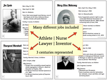 African-American Biography Task Cards for Writing, Speaking & Listening Practice