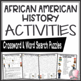 Black History Month Activities African American Crossword Puzzle Word Search