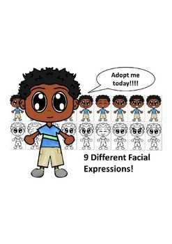 African American Boy with a Blue Shirt and Nine Different Facial Expressions