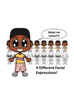 African American Boy with a Gold Shirt and Nine Different Facial Expressions