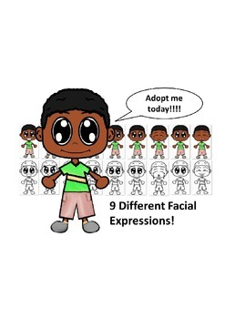 African American Boy with a Green Shirt and Nine Different Facial Expressions