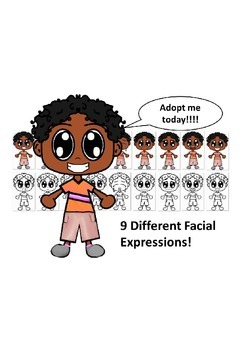 African American Boy with a Orange Shirt and Nine Different Facial Expressions