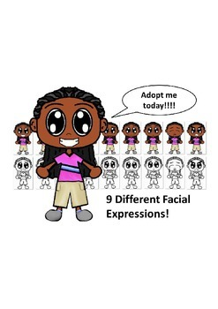 African American Boy with a Pink Shirt and Nine Different Facial Expressions