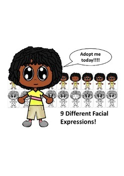 African American Boy with a Yellow Shirt and Nine Different Facial Expressions