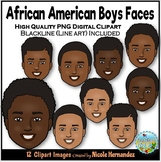 African American Boys Faces Clip Art for Personal and Comm