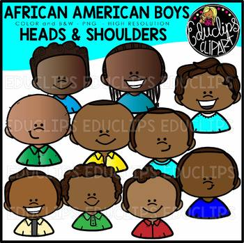 African American Boys Heads & Shoulders Clip Art Set {Educlips Clipart}
