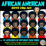 African American BOYS Heads & Shoulders Clip Art Set for Teachers