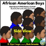 African American Boys (SIDE Portraits) Clip Art for Person