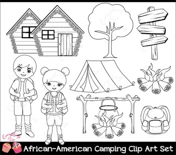 African-American Camping Clipart Set