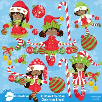 Christmas clipart, African American Christmas Elves cliparts AMB-196