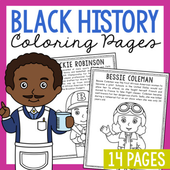 14 African American Coloring Page Crafts, Posters, Black History Month Activity