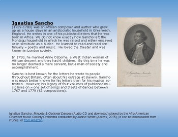 African American Composers & Activities of the 1700's