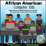 African American Computer Kids Clip Art for Personal and C