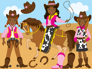 African American CowGirl Clipart - Digital Vector Wild Wes