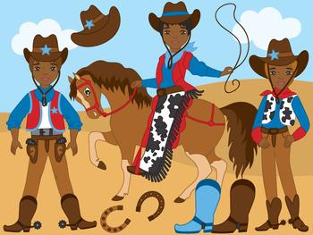 African American Cowboy Clipart - Digital Vector Wild West, Cowboy Clip Art