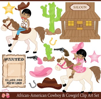 African-American Cowboy and Cowgirl Clipart Set