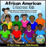 African American Criss Cross Kids Clip Art for Personal an