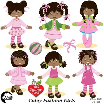 Fashion Clipart, African American Girls Clipart, AMB-199