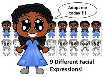 African American Girl in Blue Dress with Nine Different Facial Expressions
