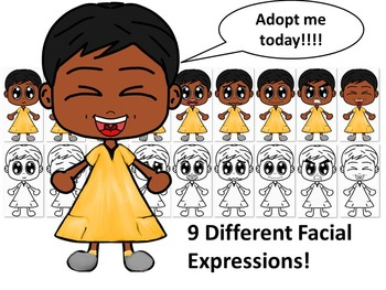 African American Girl in Gold Dress with Nine Different Facial Expressions