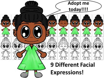 African American Girl in Green Dress with Nine Different Facial Expressions