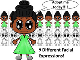 African American Girl in Green Dress with Nine Different F