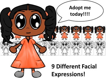 African American Girl in Orange Dress with Nine Different Facial Expressions