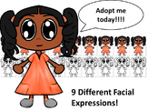 African American Girl in Orange Dress with Nine Different