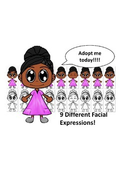 African American Girl in Pink Dress with Nine Different Facial Expressions