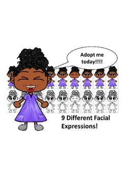 African American Girl in Purple Dress with Nine Different Facial Expressions