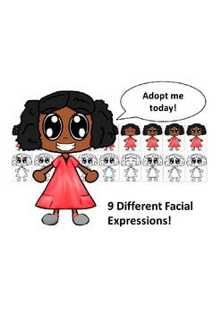 African American Girl in Red Dress with Nine Different Fac