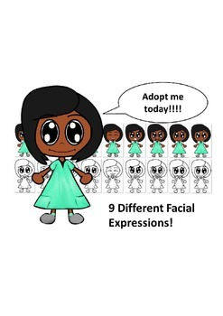 African American Girl in Teal Dress with Nine Different Facial Expressions