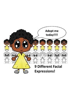 African American Girl in Yellow Dress with Nine Different Facial Expressions