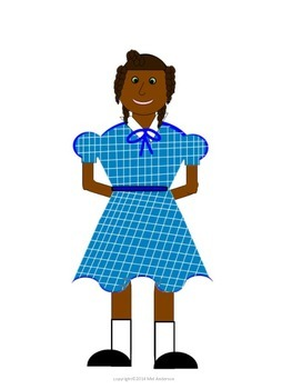 African American Girl with multiple Braids Clip Art