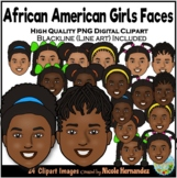 African American Girls Faces Clip Art for Personal and Com